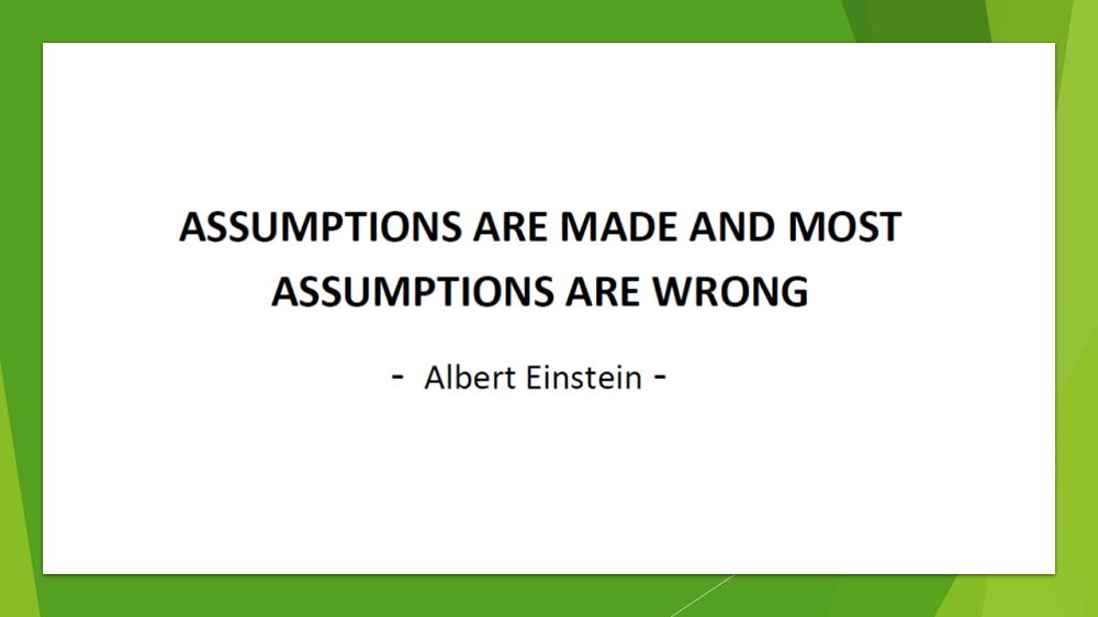 DMart : Assumptions Rationale